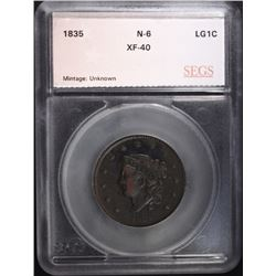 1835 LARGE CENT N-6 SEGS XF