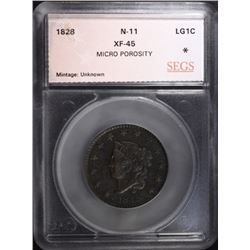 1828 LARGE CENT N-11, SEGS XF+