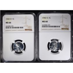 1943-D & 1943-S STEEL CENTS NGC MS66