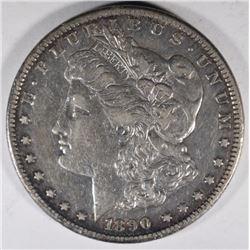 1890-CC MORGAN DOLLAR, XF/AU