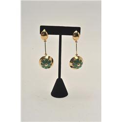 """18BZ-10 DANGLE EARRINGS14KT dangle earrings with enamel. 1960's  """"Breakfast at Tiffany's"""" style. Est"""
