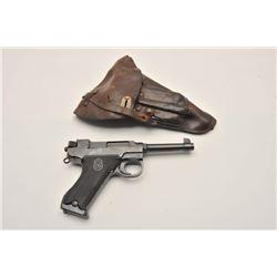 18AJ-1 HUSQAVARNA #10215Husqavarna semi-automatic pistol, 9mm  caliber, blued finish, checkered blac
