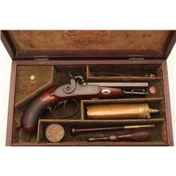 18BL-8 SAMUEL NOCKFine Cased double barreled side by side  percussion pistol by Samuel Nock,  approx