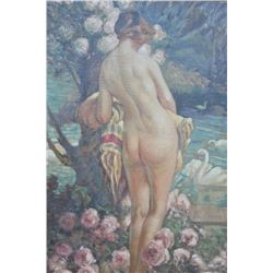 EVE-44 OIL PAINTINGImpressionist oil painting on board of nude  with swans circa early 20th century