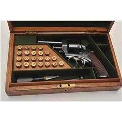 18BL-7 ADAM REVOLVERBeautiful Cased Adams & Co. revolver, .455  caliber, Serial #4032.  The pistol i