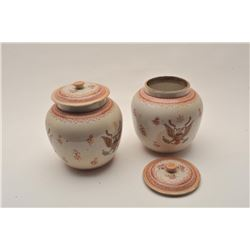 EVE-33 CHINA TRADEChina trade made for export covered jars with  American Eagles and shields. Dated