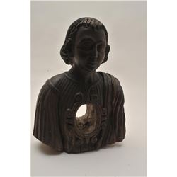 EVE-73 SPANISH COLONIAL RELIQUARYSpanish Colonial reliquary for candle of  carved wood in form of Sa