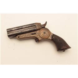"""18CF-4 ENGRAVED STARR DERRINGERRare period engraved Starr 4 barrel """"Button  Trigger"""" derringer in .3"""