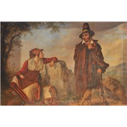 """EVE-17 OIL ON CANVAS18th century oil on canvas showing gypsies.  Measures approximately 17 ½"""" x 21 ¼"""