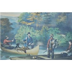 """EVE-27 CURRIER AND IVES PRINTCurrier and Ives print (Hand Colored) and  titled """"Life in the Woods"""" """""""