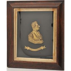 """18AI-1 BRONZE OF WELLINGTONFramed bronze gold gilted half bust of  Wellington; approximately 23"""" x 1"""