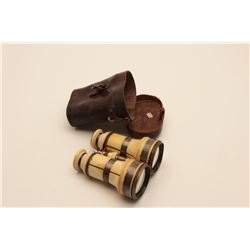 18AL-11 CAPT. WELLER BINOCULARSCivil War era ivory and silver banded  binoculars in leather case; bi