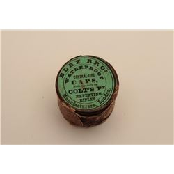 18AN-14 CAP TIN BY ELEYUnopened cap tin by Eley for Colt's Patent  Repeating Rifle (1855 Root). Labe
