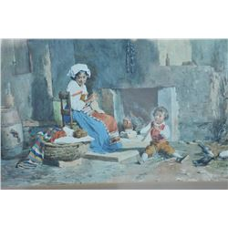 """EVE-16 WATERCOLOR SIGNEDExcellent 19th century watercolor signed  lower right """"R. Maghelli"""". Measure"""