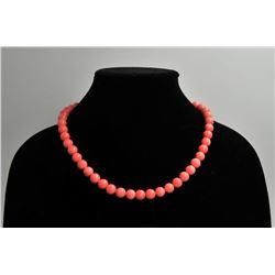 18RPS-42 CORAL BEAD NECKLACE & BRACELETOne set of fine quality coral bead necklace  and bracelet  ES