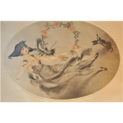 EVE-24 HAND SIGNED PRINTHand signed print by M. Deminny. Pre-war  similar to Icart. No printer's inf
