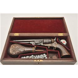 """18AP-25 REPRO 5515Reproduction percussion revolver, engraved  brass frame, .44 caliber, 7.5"""" octagon"""