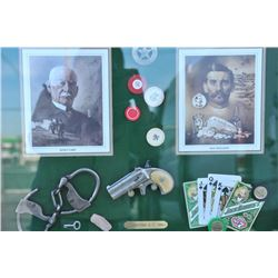 "18AP-79 DERRINGER DISPLAYBeautifully framed ""shadow box"" Western  gambling display including matted"