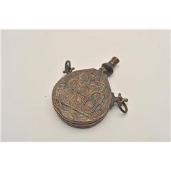 18BW-9 MOROCCAN POWDER FLASKGood early Moroccan brass powder flask, 19th  century. 100-200