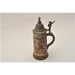 """EVE-12 LG SIZE ETCHED STEIN19th to early 20th century large size etched  stein marked """"H.R."""" and """"#"""