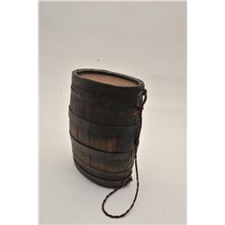 """18AL-8 BBL CANTEENAmerican barrel canteen from revolution to  mid-19th century. 10"""" x 7"""". No spout."""