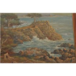 18AK-2 ORIGINAL OIL L.L. ANDREAS ROTHOriginal oil on canvas identified as Carmel,  Midway Point sign