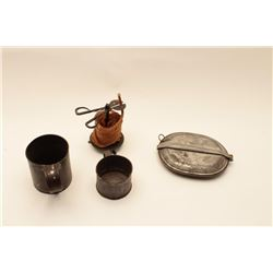 """18AL-30 MISC. LOTMisc. lot including two different size tin  cups, a tin mess kit and a wax """"jack"""" w"""