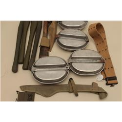 17JL-22 MILITARY GEARMisc. military gear lot including mess kits,  tent stakes, entrenching tool, we