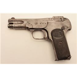 18AL-51 BROWNING 1902FN Browning semi-automatic pistol, .32  caliber, checkered hard rubber grips, S