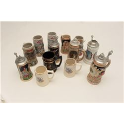 17FS-354 LOT OF BEER STEINSLot of 14 misc. beer steins; a lifetime  collection!      Est.:  $100-$20