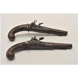 18AR-29 PAIR OF MIQUELETPair of Italian miquelet flintlock pistols  circa 1760-1800 in as found cond