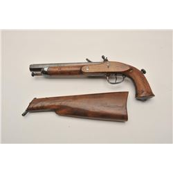 18AR-31 FLINTLOCK WITH STOCKEarly 19th century flintlock officer's pistol  with detachable shoulder