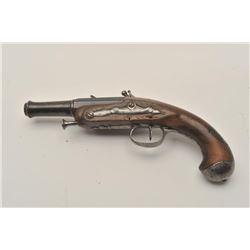 "18AR-47 FLINTLOCKMid-18th Century cannon barrel flintlock  pocket pistol, 9"" overall with wood stock"