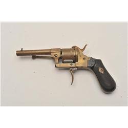 18AR-65 PINFIREBrass pinfire folding trigger revolver, .28  caliber, checkered wood grips, S/N3482,