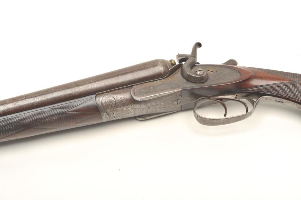 16IN-6 MANTON & RICHARD #10278Manton & Richards side by side hammer  shotgun, approximately 12 gauge
