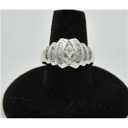 18RPS-22 MARQUEE RINGOne approx ½ ct marquee set in a white gold  dome ring with 34 side baguettes w
