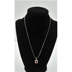 18PRS-3 RUBY & DIAMOND PENDANTOne fine quality ruby diamond 18k white gold  pendant with oval ruby w