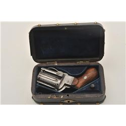 """18AR-68 PINFIRECased and engraved pinfire folding trigger  revolver, 7.65mm caliber, 2"""" cylinder, wo"""