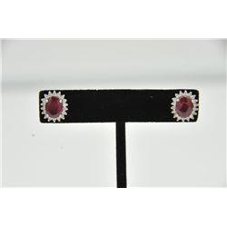 18RPS-1 RUBY & DIAMOND EARRINGSOne pair of ruby and diamond earrings set in  18k white gold. Two ova