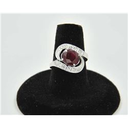 18RPS-2 RUBY RINGOne antique ring set with an oval ruby  weighing approx 3 ct and 10 diamonds weighi