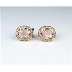 18CAI-26 ROSE QUARTZ & DIAMOND EARRINGSFinely crafted earrings set with two matching  pink Rose Quar