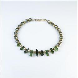 18CAI-48 TOURMALINE & PEARL BRACELETNice bracelet featuring natural Tourmalines  and pearls on 14 ka