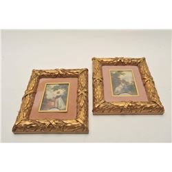 """18CA-339 2 MINIATURE PAINTINGSLot of 2 miniature paintings in ornate  frames. Signed lower right """"Re"""