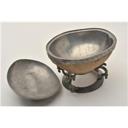 EVE-424 CEREMONIAL BOWLChina or Tibet ceremonial bowl with pewter  mounts and carved jade handle. Lo
