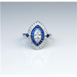 18CAI-67 STERLING SILVER RINGBeautiful replica of a vintage ring in  Sterling silver and cz stones.