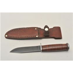 "18CA-304 L71-SEABEE MRK SHEATH KNIFE""Western, U.S.A., L71-Seabee"" marked sheath  knife with Navy emb"