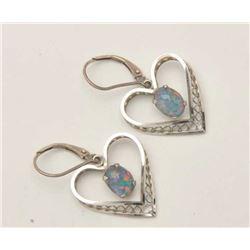 17LP-13 HEART EARRINGSDelicate white gold heart shaped earrings  with beautiful opals.  The earrings