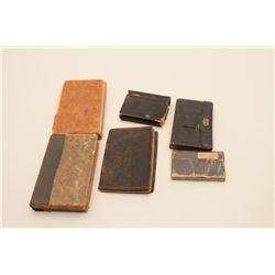18AL-28 MISC. LOTGood lot of 5 Civil War era pocket diaries  and a pocket Bible.      Est.:  $300-$6
