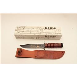 18AG-2 KABAR FIGHTING KNIFEU.S.M.C. KA-BAR Fighting Knife, new in the  box with leather scabbard.  T