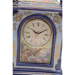 17FU-23 LIMOGES FRANCE COBALT BLUE CIRCA 1960sFrench Limoges cobalt blue porcelain mantle   clock wi